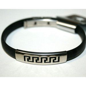 Fashion Bracelet Silver Slide Greek Key Black Band